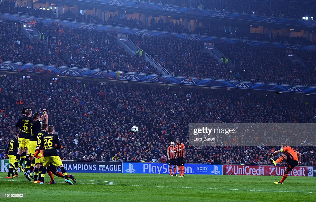 Darijo Srna of Donetsk scores his teams first goal during the UEFA Champions League Round of 16 first leg match between Shakhtar Donetsk and Borussia Dortmund at Donbass Arena on February 13, 2013 in Donetsk, Ukraine.