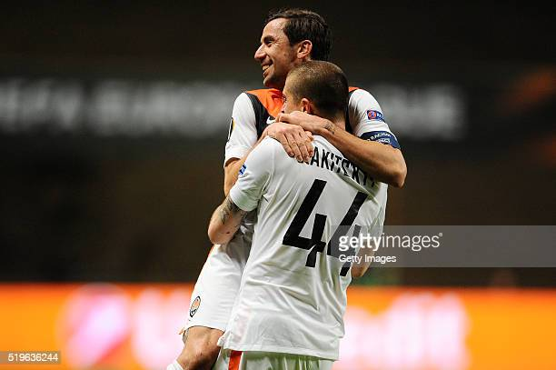 Darijo Srna of Shakhtar Donetsk celebrates a goal with Yaroslav during the UEFA Europa League Quarter Final first leg match between SC Braga and...