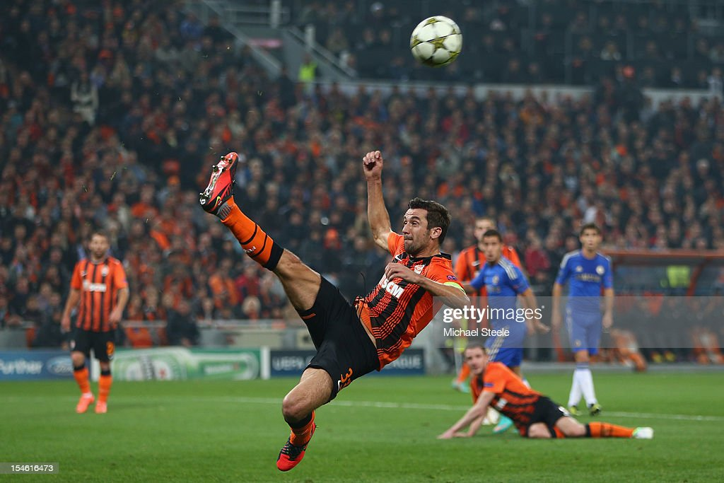 Darijo Srna of Shakhtar Donetsk makes a spectacular clearance during the UEFA Champions League Group E match between Shakhtar Donetsk and Chelsea at the Donbass Arena on October 23, 2012 in Donetsk, Ukraine.