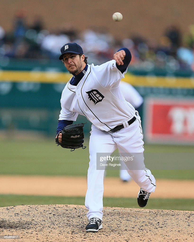 Darin Downs #38 of the Detroit Tigers pitches in the seventh inning against the New York Yankees at Comerica Park on April 6, 2013 in Detroit, Michigan. The Tigers won 8-4