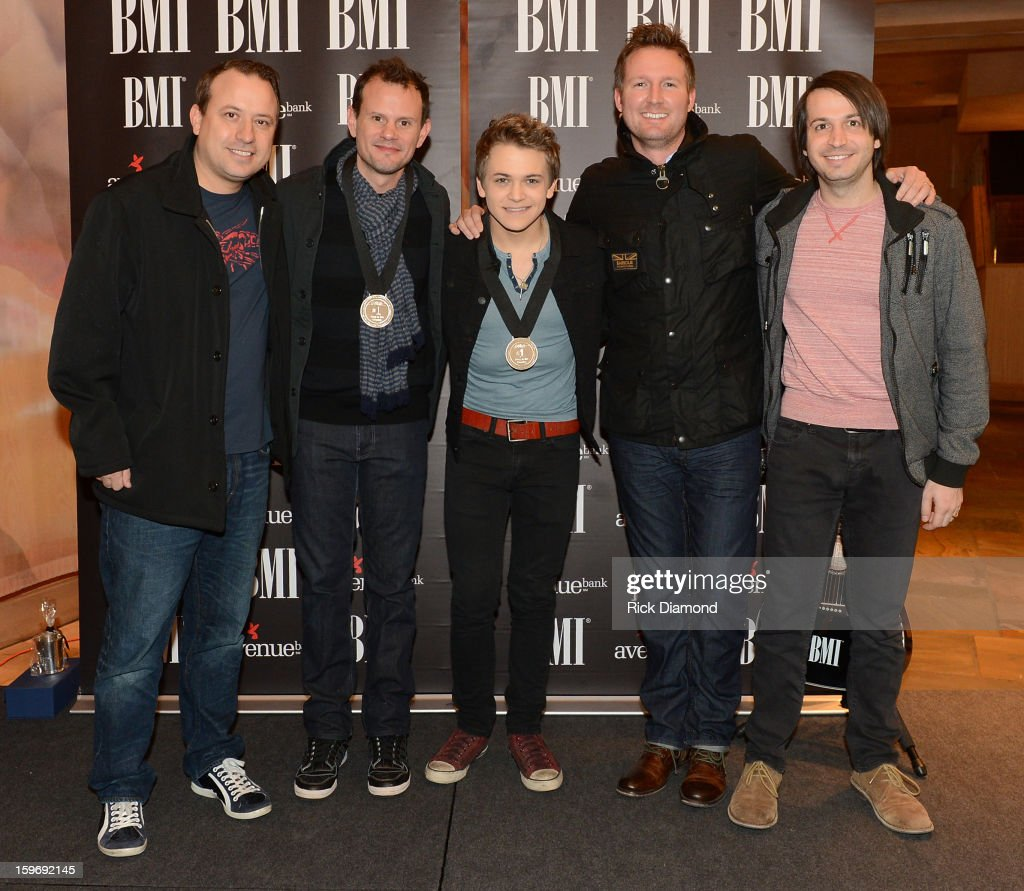 Darin Murphy CAA, Troy Verges co-writer, Hunter Hayes singer/songwriter, Jim Butler CAA, Brandon Frankel CAA attend the 'Wanted' No 1 Party on January 17, 2013 in Nashville, Tennessee.