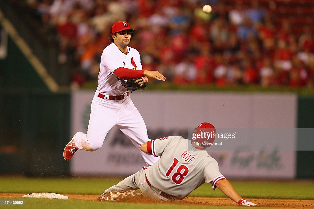 Darin Ruf #18 of the Philadelphia Phillies breaks up a double play against <a gi-track='captionPersonalityLinkClicked' href=/galleries/search?phrase=Pete+Kozma&family=editorial&specificpeople=6800748 ng-click='$event.stopPropagation()'>Pete Kozma</a> #38 of the St. Louis Cardinals in the ninth inning at Busch Stadium on July 25, 2013 in St. Louis, Missouri. The Cardinals beat the Phillies 3-1.