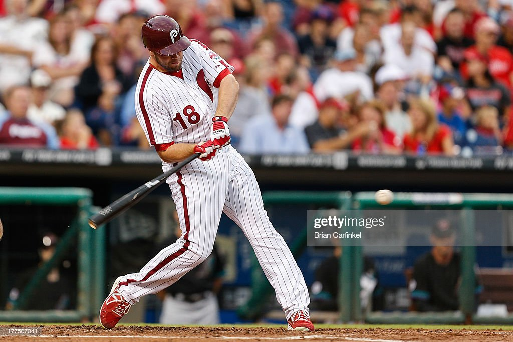 Darin Ruf #18 of the Philadelphia Phillies hits a solo home run in the second inning of the game against the Arizona Diamondbacks at Citizens Bank Park on August 23, 2013 in Philadelphia, Pennsylvania.