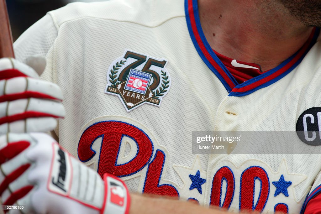 Darin Ruf #18 of the Philadelphia Phillies wears a Baseball Hall of Fame 75th Anniversary patch during a game against the Arizona Diamondbacks at Citizens Bank Park on July 27, 2014 in Philadelphia, Pennsylvania.