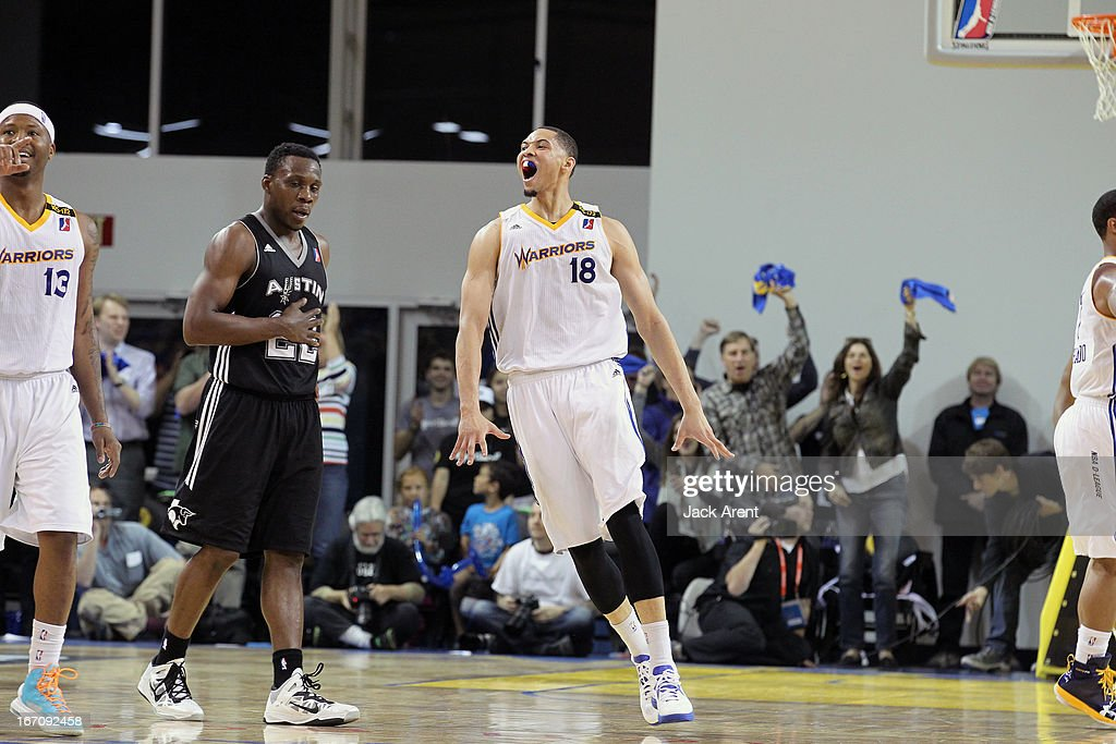 Darington Hobson #18 of the Santa Cruz Warriors reacts after a great play against the Austin Toros in an NBA Development League Playoff Game on April 19, 2013 at Kaiser Permanente Arena in Santa Cruz, California.