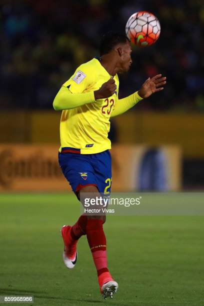 Dario Aimar of Ecuador heads the ball during a match between Ecuador and Argentina as part of FIFA 2018 World Cup Qualifiers at Olimpico Atahualpa...