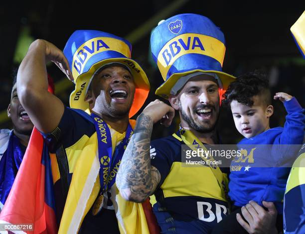 Dario Benedetto and Frank Fabra of Boca Juniors celebrate after a match between Boca Juniors and Union as part of Torneo Primera Division 2016/17 at...