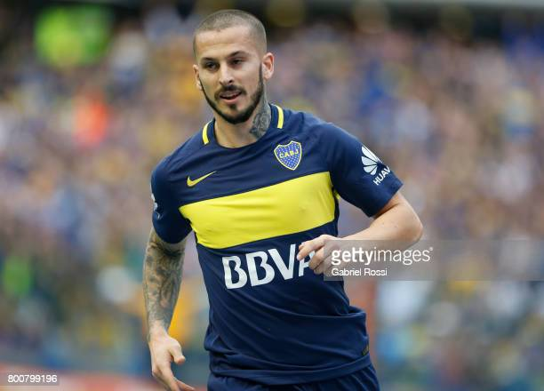 Dario Benedetto of Boca Juniors celebrates after scoring the first goal of his team during a match between Boca Juniors and Union as part of Torneo...