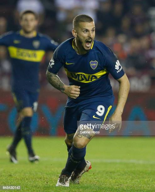 Dario Benedetto of Boca Juniors celebrates after scoring the first goal of his team during a match between Lanus and Boca Juniors as part of the...