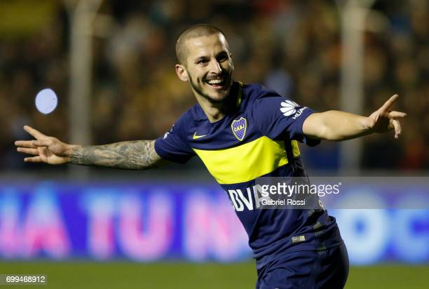 Dario Benedetto of Boca Juniors celebrates after scoring the second goal of his team during a match between Olimpo and Boca Juniors as part of Torneo...