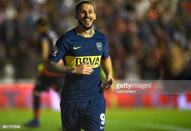 Dario Benedetto of Boca Juniors celebrates after scoring the second goal of his team during a match between Patronato and Boca Juniors as part of...