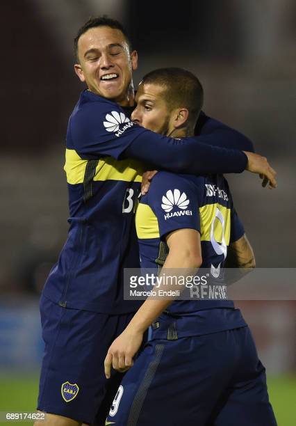 Dario Benedetto of Boca Juniors celebrates with Leonardo Jara after scoring the opening goal during a match between Huracan and Boca Juniors as part...