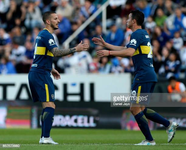 Dario Benedetto of Boca Juniors celebrates with teammate Leonardo Jara after scoring the opening goal during a match between Velez Sarsfield and Boca...