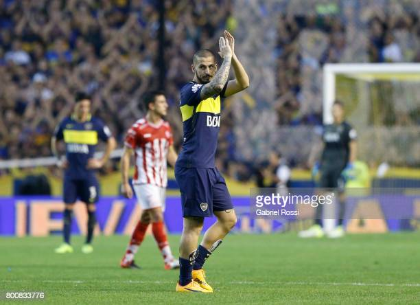 Dario Benedetto of Boca Juniors leaves the field during a match between Boca Juniors and Union as part of Torneo Primera Division 2016/17 at Alberto...