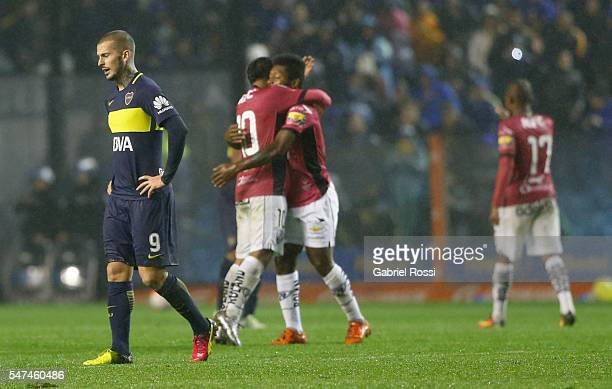 Dario Benedetto of Boca Juniors looks dejected after a second leg match between Boca Juniors and Independiente del Valle as part of semifinals of...