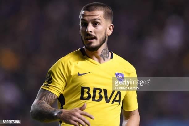 Dario Benedetto of Boca Juniors looks on during a match between Boca Juniors and Olimpo as part of Superliga 2017/18 at Alberto J Armando Stadium on...