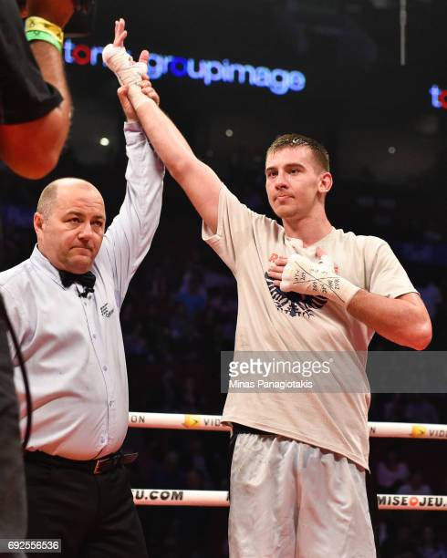 Dario Bredicean celebrates his victory against Manuel Garcia during the super middleweight match at the Bell Centre on June 3 2017 in Montreal Quebec...