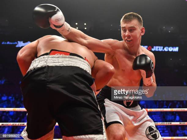 Dario Bredicean misses with a right punch on Manuel Garcia during the super middleweight match at the Bell Centre on June 3 2017 in Montreal Quebec...