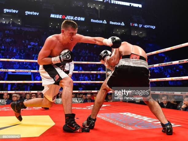 Dario Bredicean throws a punch against Manuel Garcia during the super middleweight match at the Bell Centre on June 3 2017 in Montreal Quebec Canada...
