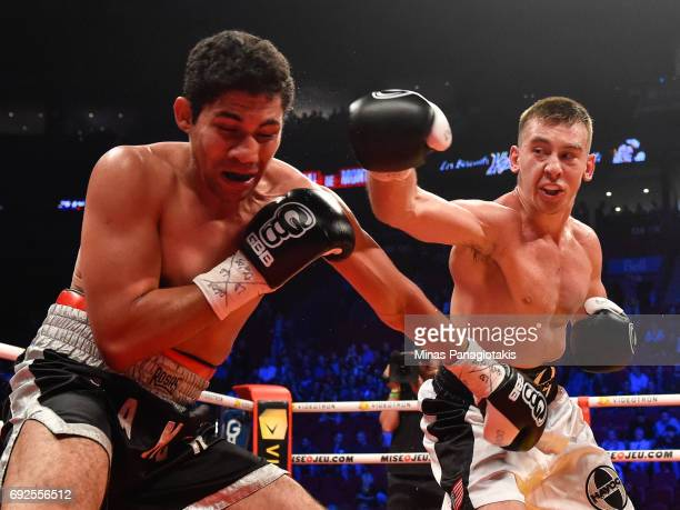 Dario Bredicean throws a punch towards Manuel Garcia during the super middleweight match at the Bell Centre on June 3 2017 in Montreal Quebec Canada...
