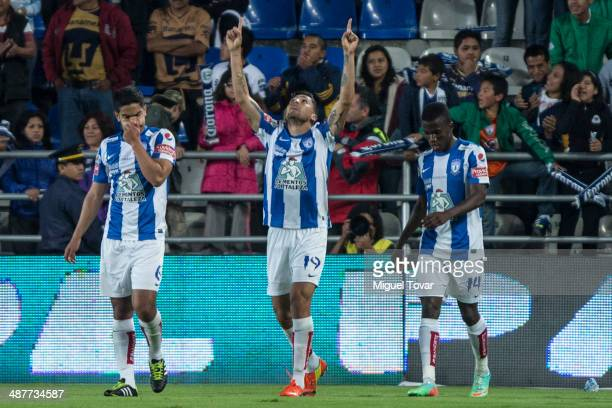 Dario Carre–o of Pachuca celebrates after scoring during the Quarterfinal first leg match between Pumas UNAM and Pachuca as part of the Clausura 2014...
