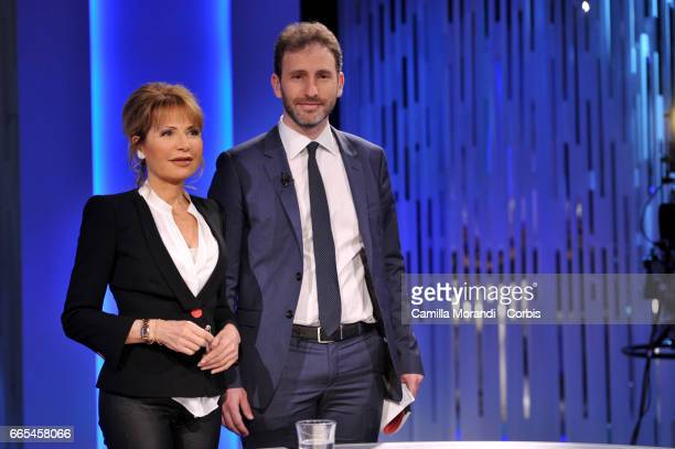 Dario Casaleggio and Lilli Gruber attends 'Otto E Mezzo' Talk Show on April 6 2017 in Rome Italy