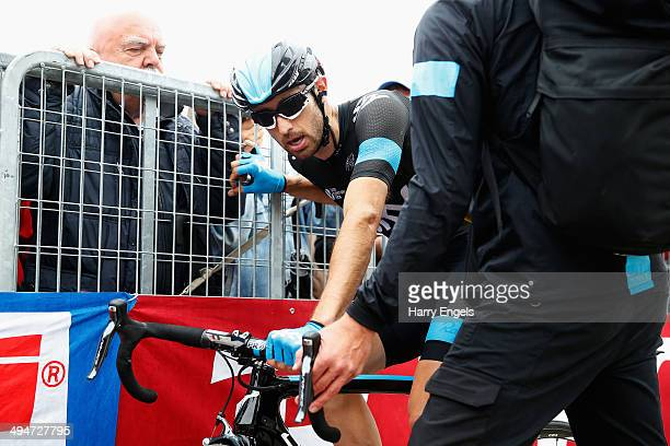 Dario Cataldo of Italy and Team SKY looks exhausted after crossing the finish line during the nineteenth stage of the 2014 Giro d'Italia a 27km...