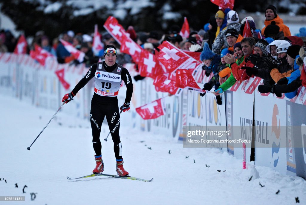 <a gi-track='captionPersonalityLinkClicked' href=/galleries/search?phrase=Dario+Cologna&family=editorial&specificpeople=4779620 ng-click='$event.stopPropagation()'>Dario Cologna</a> of Switzerland celebrates after the Men's Individual Sprint event in the FIS Cross Country World Cup on December 12, 2010 in Davos, Switzerland.