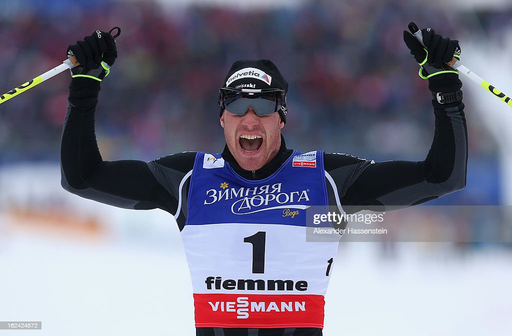 <a gi-track='captionPersonalityLinkClicked' href=/galleries/search?phrase=Dario+Cologna&family=editorial&specificpeople=4779620 ng-click='$event.stopPropagation()'>Dario Cologna</a> of Switzerland celebrates victory in the Men's Skiathlon at the FIS Nordic World Ski Championships on February 23, 2013 in Val di Fiemme, Italy.