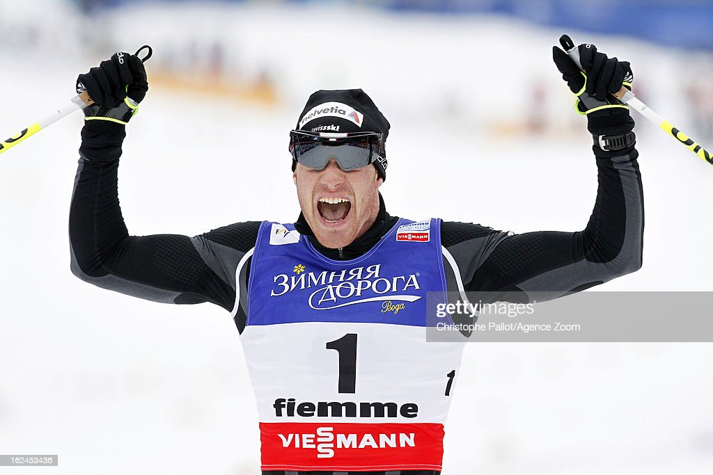 <a gi-track='captionPersonalityLinkClicked' href=/galleries/search?phrase=Dario+Cologna&family=editorial&specificpeople=4779620 ng-click='$event.stopPropagation()'>Dario Cologna</a> of Switzerland takes the gold medal during the FIS Nordic World Ski Championships Men's Cross Country Skiathlon on February 23, 2013 in Val di Fiemme, Italy.