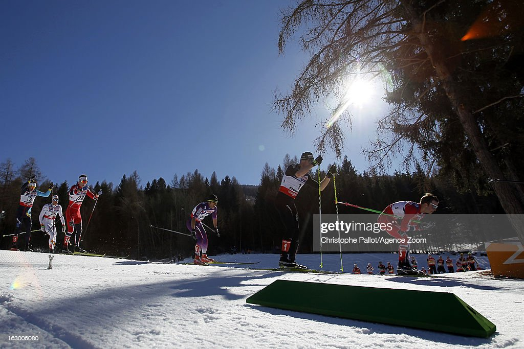 Dario Cologna of Switzerland takes the silver medal competes during the FIS Nordic World Ski Championships Cross Country Men's Mass Start on March 03, 2013 in Val di Fiemme, Italy.