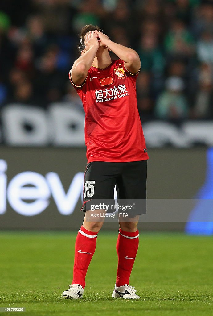 Dario Conca of Guangzhou Evergrande FC reacts after missing a goal scoring chance during the FIFA Club World Cup 3rd place match between Guangzhou...