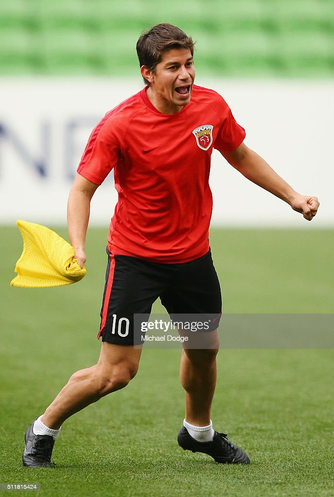 Dario Conca reacts during the Shanghai SIPG training session at AAMI Park on February 23 2016 in Melbourne Australia