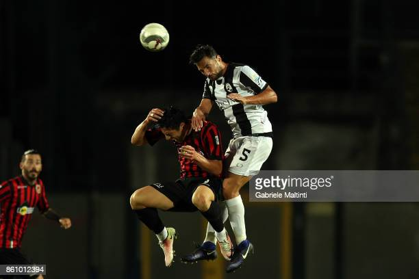 Dario D'Ambrosio of Robur Siena battles for the ball with Ferdinando Mastoianni of Pro Piacenza during the Serie A match between Robur Siena and Pro...