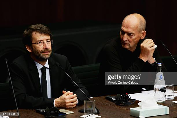 Dario Franceschini and Rem Koolhaas attend Fondazione Prada Press Conference on May 2 2015 in Milan Italy