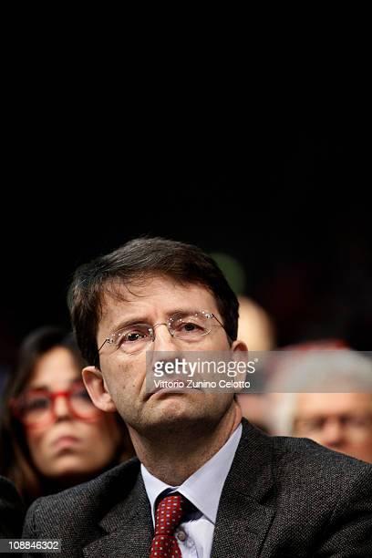 Dario Franceschini attends the 'Liberta e Giustizia' protest against Italian Prime Minister Silvio Berlusconi at Palasharp on February 5 2011 in...