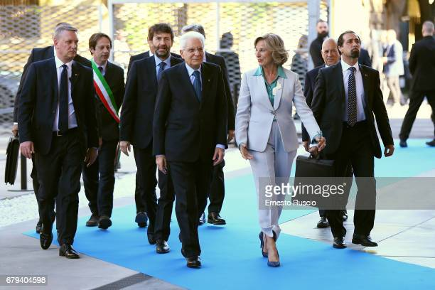 Dario Franceschini Italian President Sergio Mattarella and Giovanna Melandri visit Maxxi Museum on May 5 2017 in Rome Italy