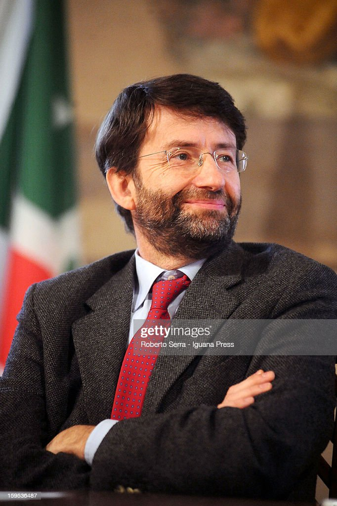 <a gi-track='captionPersonalityLinkClicked' href=/galleries/search?phrase=Dario+Franceschini&family=editorial&specificpeople=4851356 ng-click='$event.stopPropagation()'>Dario Franceschini</a>, PD's candidate at Italian Parliament in the next political elections, attends the press conference to present himself at Farnese Chapel of Palazzo D'Accursio on January 15, 2013 in Bologna, Italy. The elections of a new Italian Parliament will take place on February 24.