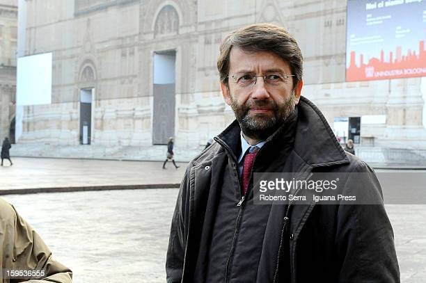 Dario Franceschini PD's candidate at Italian Parliament in the next political elections arrives at the press conference to present himself at Farnese...