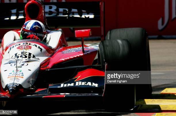 Dario Franchitti driving the Andretti Green Racing Klein Tools/Jim Beam Dallara Honda during practice for the IRL IndyCar Series Honda Grand Prix of...