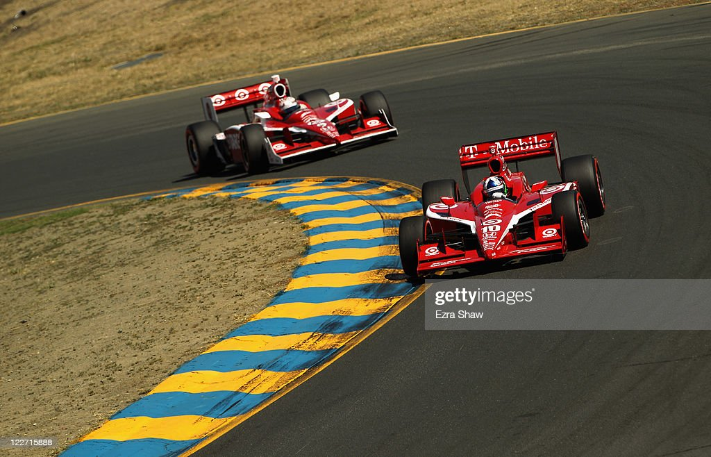 <a gi-track='captionPersonalityLinkClicked' href=/galleries/search?phrase=Dario+Franchitti&family=editorial&specificpeople=171306 ng-click='$event.stopPropagation()'>Dario Franchitti</a> of Scotland, driver of the #10 Target Chip Ganassi Racing Dallara Honda, leads <a gi-track='captionPersonalityLinkClicked' href=/galleries/search?phrase=Scott+Dixon&family=editorial&specificpeople=183395 ng-click='$event.stopPropagation()'>Scott Dixon</a> of New Zealand, driver of the #9 Target Chip Ganassi Racing Dallara Honda, in the IZOD IndyCar Series Indy Grand Prix of Sonama race at Infineon Raceway on August 28, 2011 in Sonoma, California.