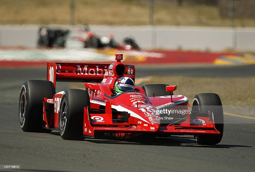 <a gi-track='captionPersonalityLinkClicked' href=/galleries/search?phrase=Dario+Franchitti&family=editorial&specificpeople=171306 ng-click='$event.stopPropagation()'>Dario Franchitti</a> of Scotland, driver of the #10 Target Chip Ganassi Racing Dallara Honda, races in the IZOD IndyCar Series Indy Grand Prix of Sonama race at Infineon Raceway on August 28, 2011 in Sonoma, California.