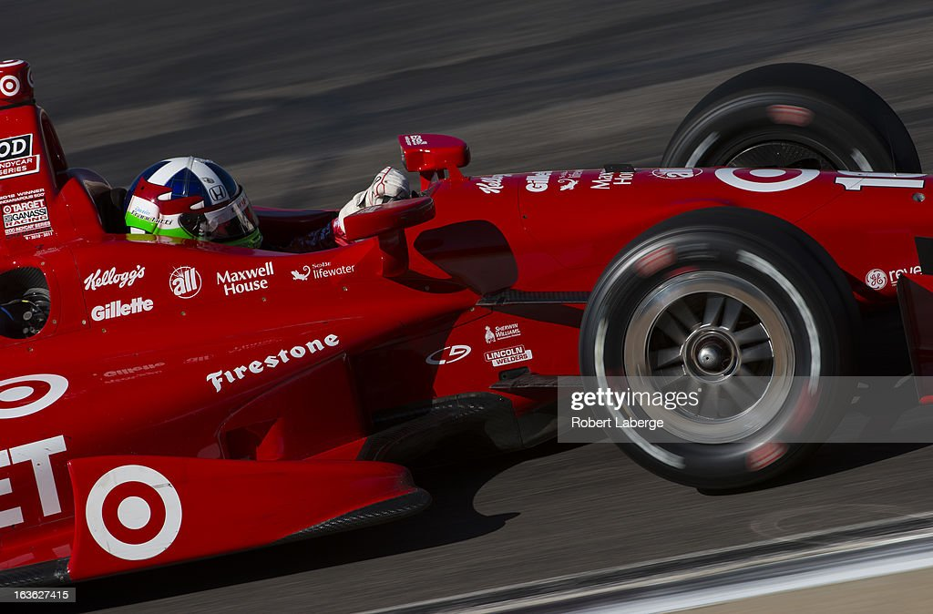 <a gi-track='captionPersonalityLinkClicked' href=/galleries/search?phrase=Dario+Franchitti&family=editorial&specificpeople=171306 ng-click='$event.stopPropagation()'>Dario Franchitti</a> of Scotland driver of the #10 Target Chip Ganassi Racing Dallara Honda during Day Two of IZOD IndyCar Series testing at Barber Motorsports Park on March 13, 2013 in Birmingham, Alabama.