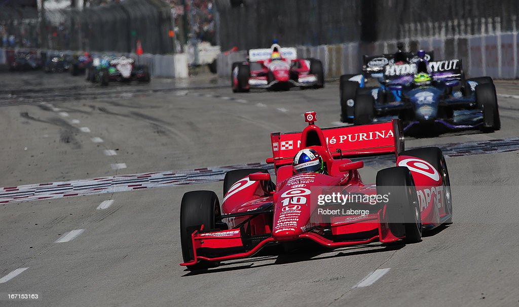 <a gi-track='captionPersonalityLinkClicked' href=/galleries/search?phrase=Dario+Franchitti&family=editorial&specificpeople=171306 ng-click='$event.stopPropagation()'>Dario Franchitti</a> of Scotland driver of the #10 Target Chip Ganassi Racing Dallara Honda leads a pack of cars during the IndyCar Series Toyota Grand Prix of Long Beach on April 21, 2013 on the streets of Long Beach, California.