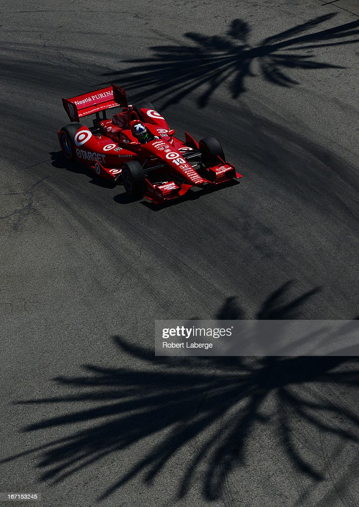 <a gi-track='captionPersonalityLinkClicked' href=/galleries/search?phrase=Dario+Franchitti&family=editorial&specificpeople=171306 ng-click='$event.stopPropagation()'>Dario Franchitti</a> of Scotland driver of the #10 Target Chip Ganassi Racing Dallara Honda during the IndyCar Series Toyota Grand Prix of Long Beach on April 21, 2013 on the streets of Long Beach, California.