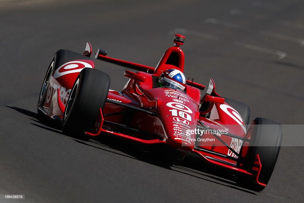 <a gi-track='captionPersonalityLinkClicked' href=/galleries/search?phrase=Dario+Franchitti&family=editorial&specificpeople=171306 ng-click='$event.stopPropagation()'>Dario Franchitti</a> of Scotland, driver of the #10 Target Chip Ganassi Racing Honda Dallara drives during final practice on Carb Day for the 97th Indianapolis 500 mile race at Indianapolis Motor Speedway on May 24, 2013 in Indianapolis, Indiana.
