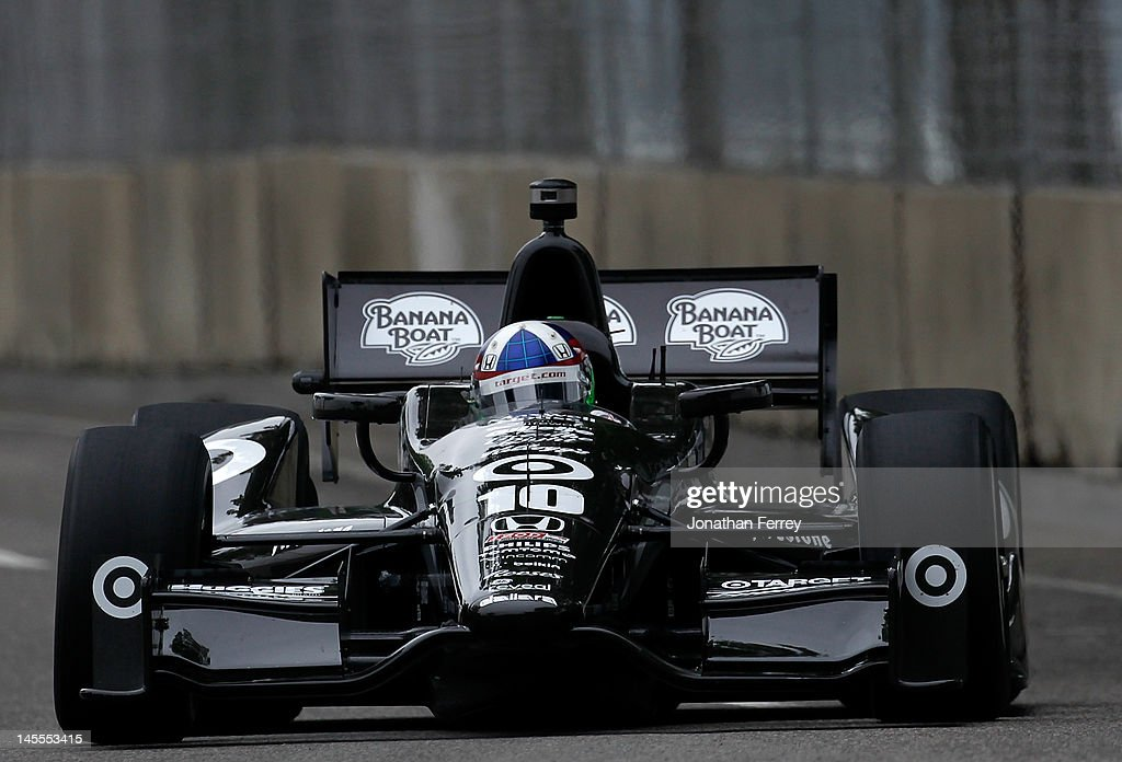 <a gi-track='captionPersonalityLinkClicked' href=/galleries/search?phrase=Dario+Franchitti&family=editorial&specificpeople=171306 ng-click='$event.stopPropagation()'>Dario Franchitti</a> of Scotland drives his #10 Target Chip Ganassi Racing Honda Dallara DW12 during practice for the IZOD INDYCAR Series Chevrolet Detroit Belle Isle Grand Prix on Belle Isle on June 1, 2012 in Detroit, Michigan.