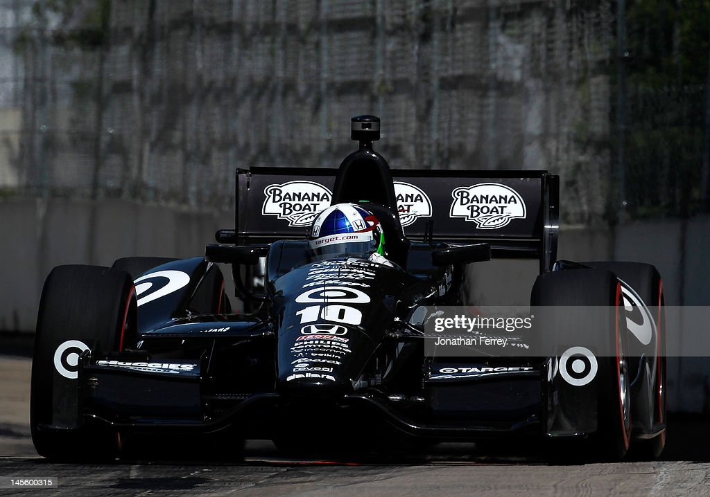 <a gi-track='captionPersonalityLinkClicked' href=/galleries/search?phrase=Dario+Franchitti&family=editorial&specificpeople=171306 ng-click='$event.stopPropagation()'>Dario Franchitti</a> of Scotland drives his #10 Target Chip Ganassi Racing Honda Dallara DW12 during qualifying for the IZOD INDYCAR Series Chevrolet Detroit Belle Isle Grand Prix on Belle Isle on June 2, 2012 in Detroit, Michigan.