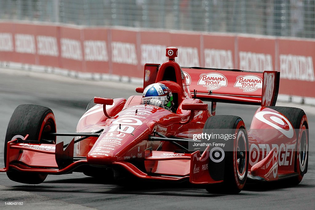Dario Franchitti of Scotland, drives his #10 Target Chip Ganassi Racing Honda Dallara during the IZOD INDYCAR Series Honda Indy Toronto on July 8, 2012 in Toronto, Canada.