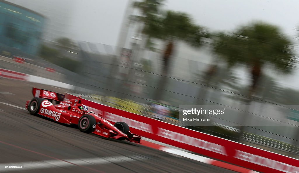 Dario Franchitti of Scotland, drives the #10 Target Chip Ganassi Racing Dallara Honda during the Honda Grand Prix of St. Petersburg on March 24, 2013 in St Petersburg, Florida.